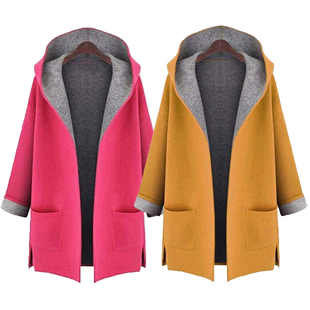 2018-Women-s-Fahion-Wool-Coat-Jacket-Medium-Long-Large-Size-Loose-Front-Open-Coat-Coats