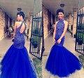 Gorgeous Royal Blue Mermaid Tulle Crystal Partida Vestido de Fiesta Con Escote de Cuentas 2017 Nuevo Vestido De Festa Curto