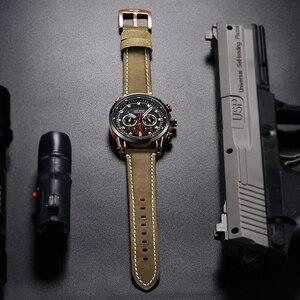 Image 4 - MEGIR relojes deportivos para hombre, de cuarzo, de cuero, militar, resistente al agua, Masculino