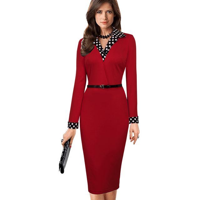 Women Elegant Vintage Dress Autumn Polka Dot Turn Down Collar  Belted Office Casual Long Sleeve Sheath Pencil