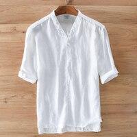 High End Men Shirt Linen Chinese Style Fashion Shirt Men Summer White Shirts Men Solid Flax
