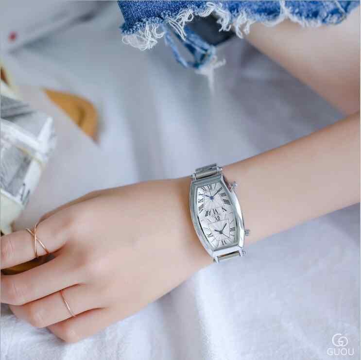 GUOU Novo Mulheres Relógio Duplo movimento Único duplo mostrador do Relógio de Luxo Completa Aço Mulheres Relógios relogio feminino bayan kol saati