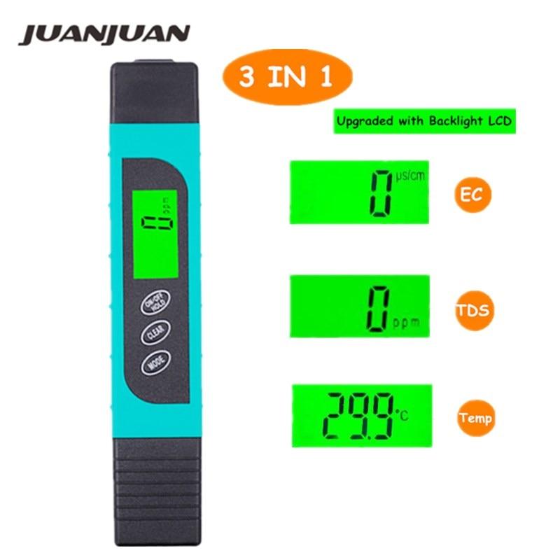 Miernik TDS EC Tester temperatury długopis 3 In1 Funkcja Przewodnictwo Narzędzie do pomiaru jakości wody 0-9000ppm 20% zniżki