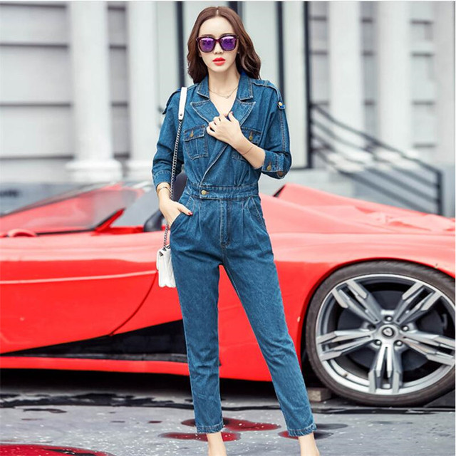 55e0cd4837 New Arrival Jeans Jumpsuit Women Slim Fit Casual Rompers Womens Jumpsuit  High Waist Bat Sleeve Denim Jumpsuits For Women A5409