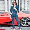 New Arrival Jeans Jumpsuit Women Slim Fit Casual Rompers Womens Jumpsuit High Waist Bat Sleeve Denim