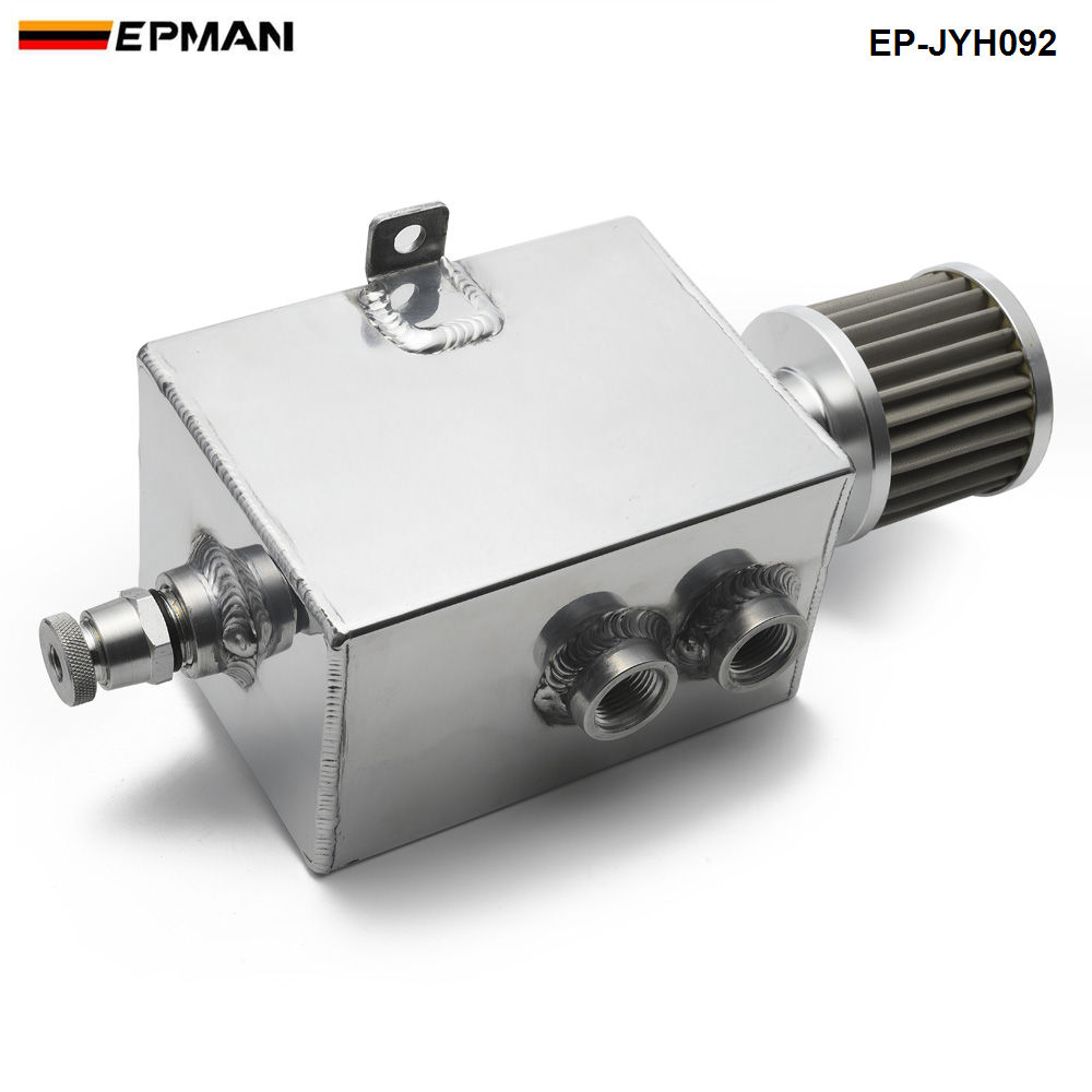 Epman Racing 2L Aluminum Universal oil catch can tank with breather  amp  drain tap 2LT baffled EP-JYH092