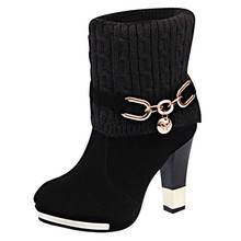ELGEER(EL 2018 winter new thick with womens boots high-heeled shoes casual fashion warm female Riding, Equestrian