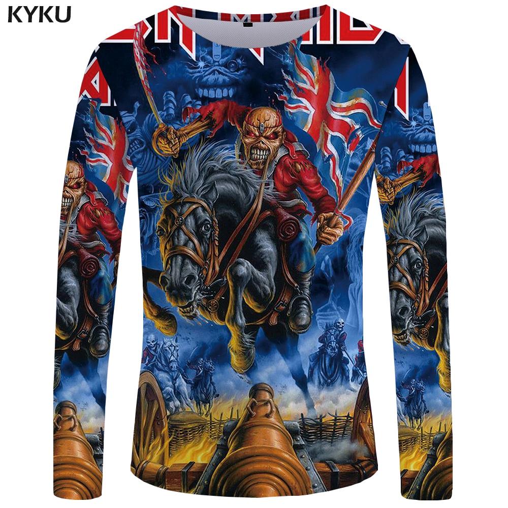 KYKU Brand Iron Maiden Long sleeve T shirt Gothic Tshirt Punk Clothing Military Funny T shirts Clothes Tees Men Fashion Sexy