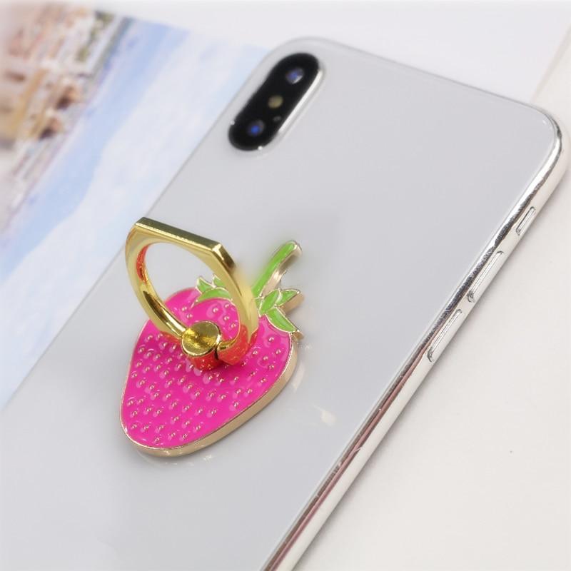 360 องศาโลหะนิ้วมือแหวนขาตั้งโทรศัพท์สมาร์ทผู้ถือผลไม้สตรอเบอร์รี่ Case for Mobile Phone portable universal Phone Holder Phone stand ัวป๊อปติดมือถือที่ติดหลังมือถือ (สำหรับ Iphone โทรศัพท์ทั้งหมด