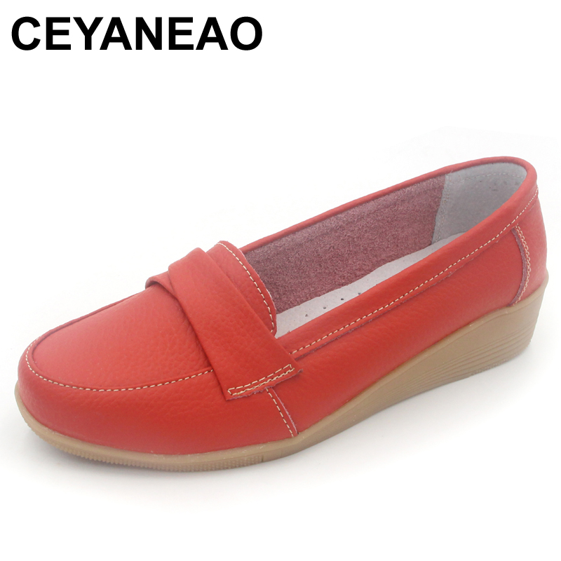 CEYANEAO Shoes Woman Leather Women Shoes Flats 3 Colors Buckle Loafers Slip On Womens Flat Shoes Moccasins Plus Size C057