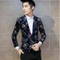 2016 Nuevo Otoño Moda Hombre Slim fit Chaquetas Trajes de Negocios Vestido Formal Trajes de Boda Un Botón Blazer Abrigos Florales Tamaño