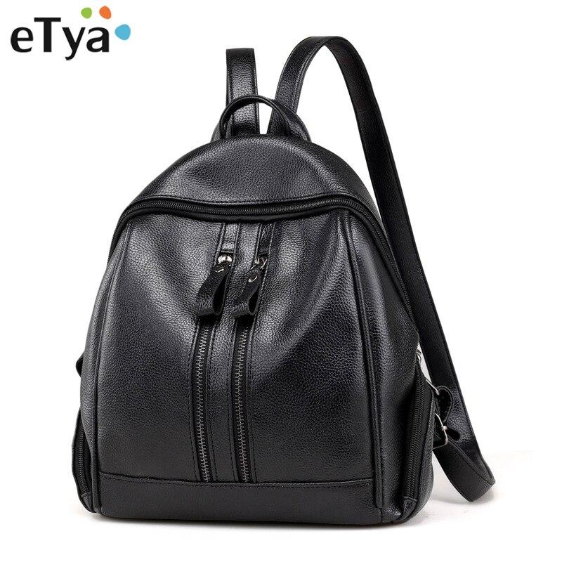 ETya Для женщин рюкзак Кожаные Рюкзаки Высокое качество Для женщин сумка Водонепроницаемый Повседневное подростков рюкзак женский дамы Грил...