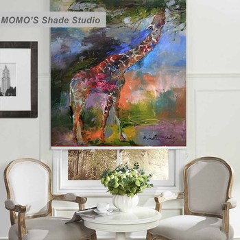 MOMO Roller Blinds Blackout Design Window Blinds Shades Painting Curtains Roller Shades Thermal Fabric Custom Size PRB set553