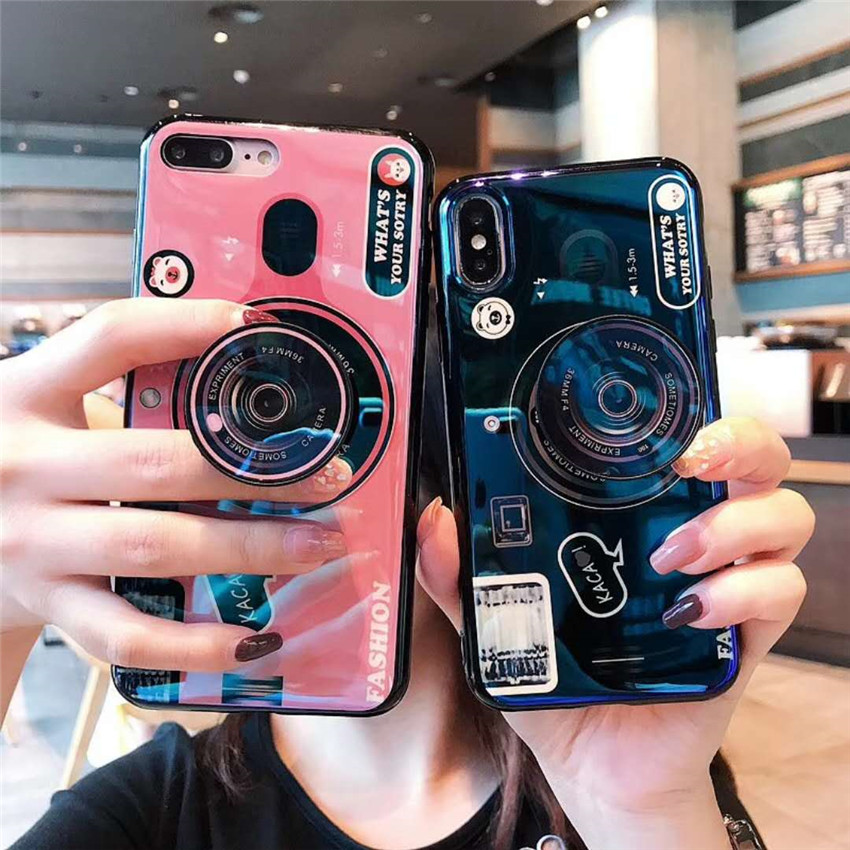 Blue Ray Camera Stand Holder Cases For Huawei P30 P40 Pro Mate 8 9 10 20 Pro Soft Silicone Cover For Huawei P30 P20 Lite Coque