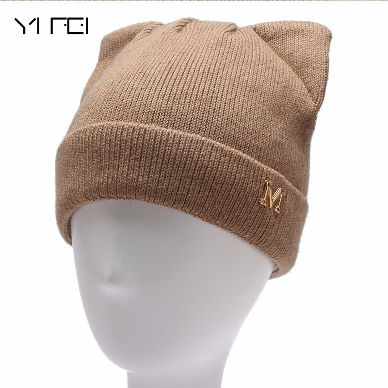 Kitty Cat Ear Wool Double Knitting Hats For Women's  The Letter M Winter Hat Warm Thick Girls Skullies Beanies Female Caps han edition spot qiu dong the day han2 ban3 girl gradient fashionable joker knitting wool hat