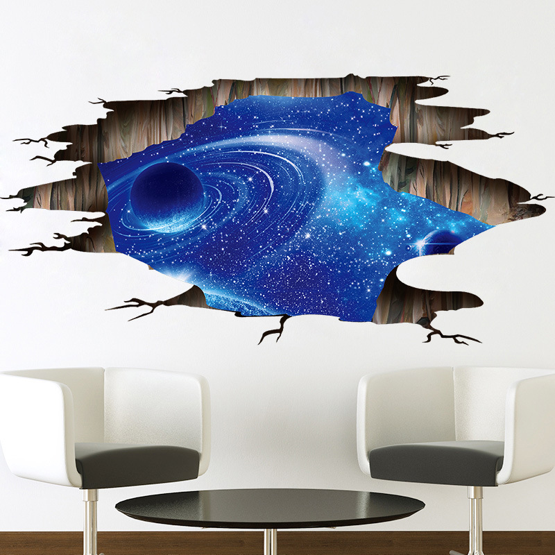 3d Cosmic Sky Space Galaxy Wall Stickers For Kids Baby Rooms Bedroom
