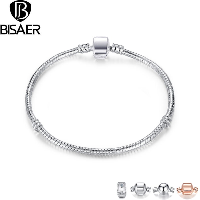 BISAER High Quality Wholesale Silver Color Basic Snake Chain Magnet Clasp Bracelets  Bracelet WEU9010