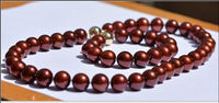 Free shipping Jew.655 10 11mm south sea wine red pearl necklace 18 bracelet 8