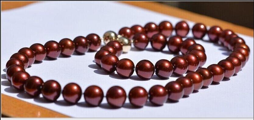 Livraison gratuite Jew.655 10-11mm mer du sud vin rouge collier de perles 18