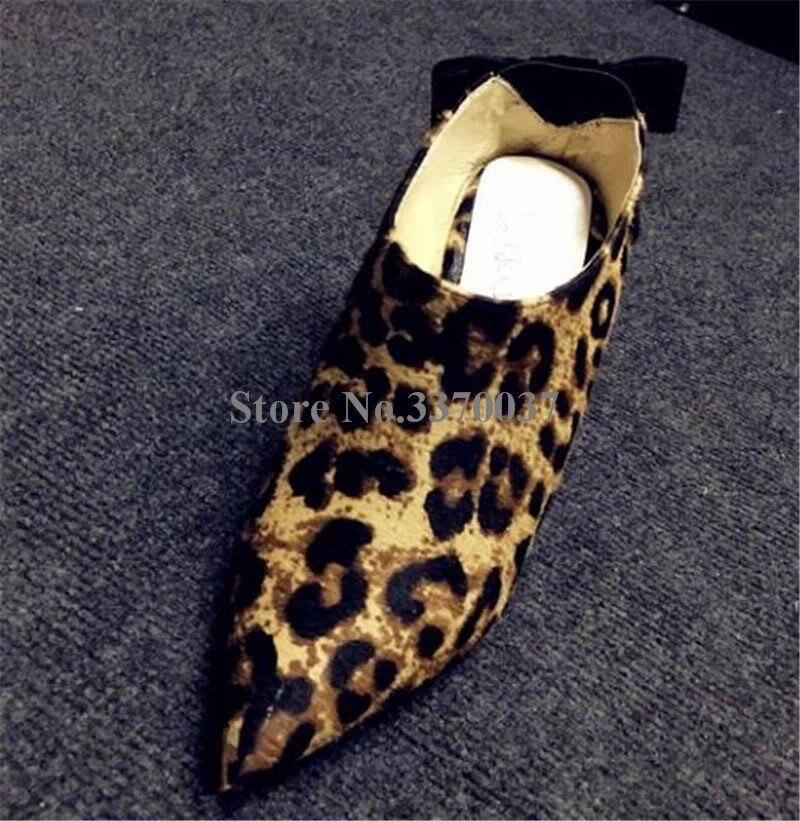 Printemps Slip Talons as Back 2018 Rouge Low Léopard Retour on Picture Femmes As Blanc Robe Nouveau Picture Mode Pointu Bowknot Bout Haute Chaussures Pompes 4BBTdq7w