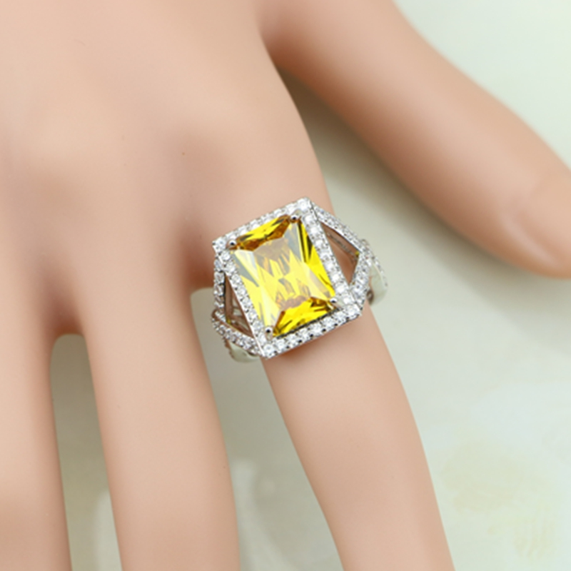 Square Delightful 925 Sterling Silver Ring Yellow Zircon White CZ For Women Wedding Wedding/Engagement/Party/Gifts Ring