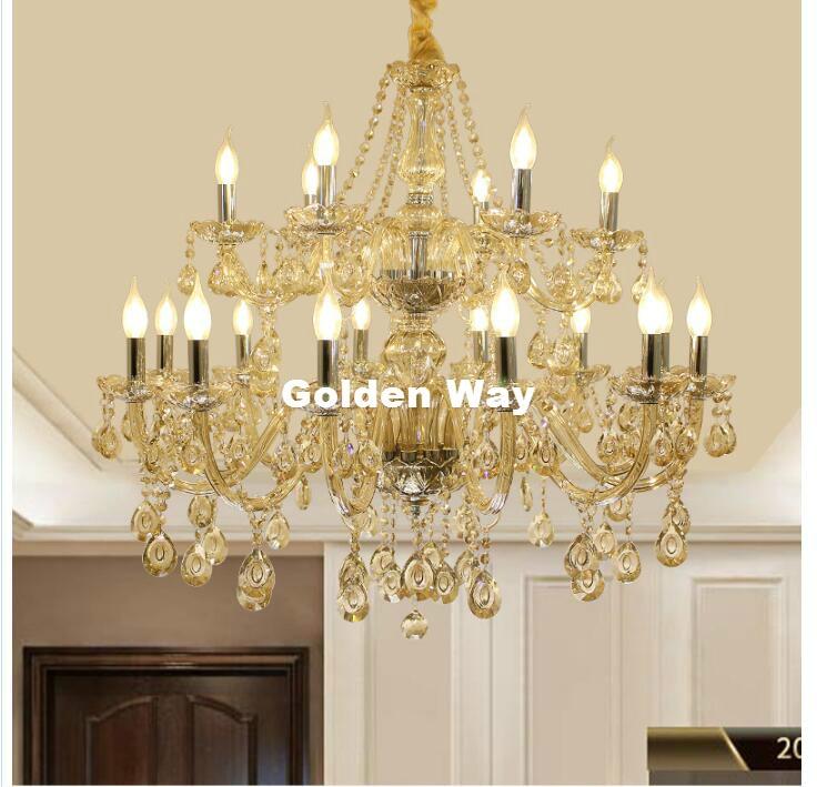 Modern Cognac Silver Crystal Chandelier Lighting Fixture Luxury 18L LED Large Crystal Lustres de cristal Living Room chandelier