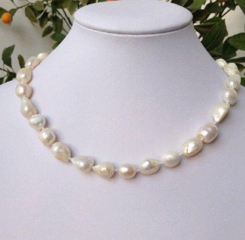 100% Venta de Imagen completa sobre 9-10mm barroco blanco de agua dulce collar de perlas 18