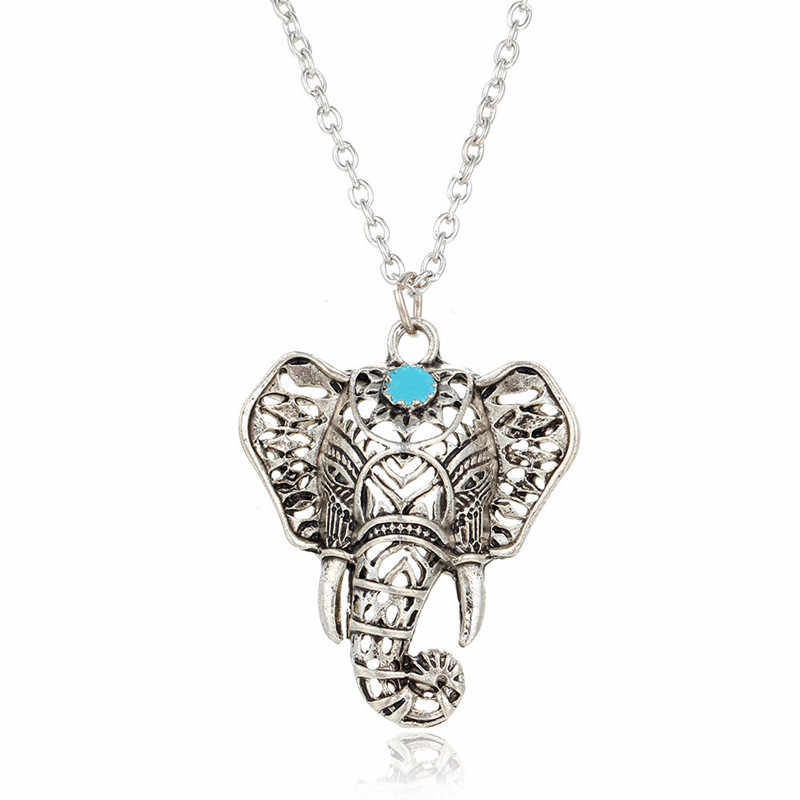 Hot Vintage Elephant Pendant Necklace Boho Antique Blue Stone Choker Necklace Bohemia Bar Necklace    4ND112