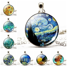2019 New Fashion Van Gogh Necklace Glass Dome Round Pendant Silver Alloy Women Art Jewelry