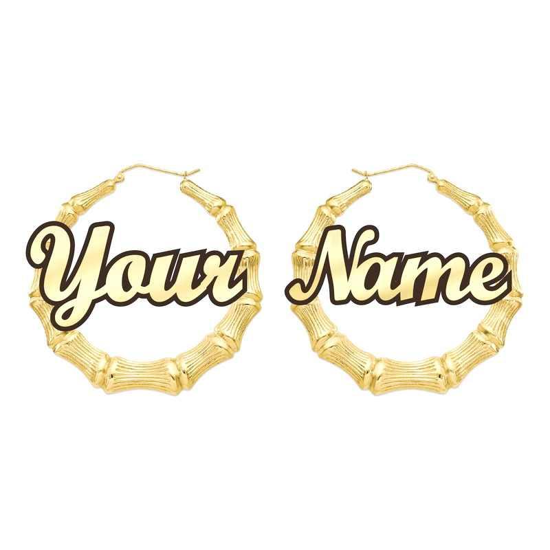 Name Earrings Bamboo Style Custom Hoop