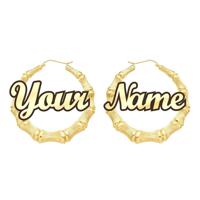 Anpassbare anpassen Name Ohrringe Bambus Stil nach hoop Ohrringe Mit Erklärung Worte