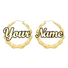 Customizable customize Name Earrings Bamboo Style custom hoop Earrings With Statement Words C3