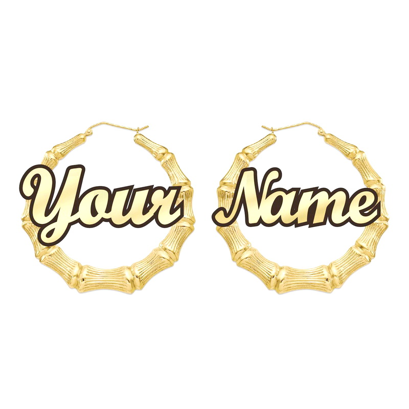 Customizable Customize Name Earrings Bamboo Style Custom Hoop With Statement Words