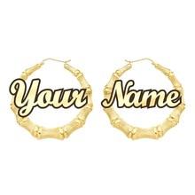 Personalizable personalizar nombre pendientes estilo bambú pendientes de aro personalizados con palabras de declaración C3