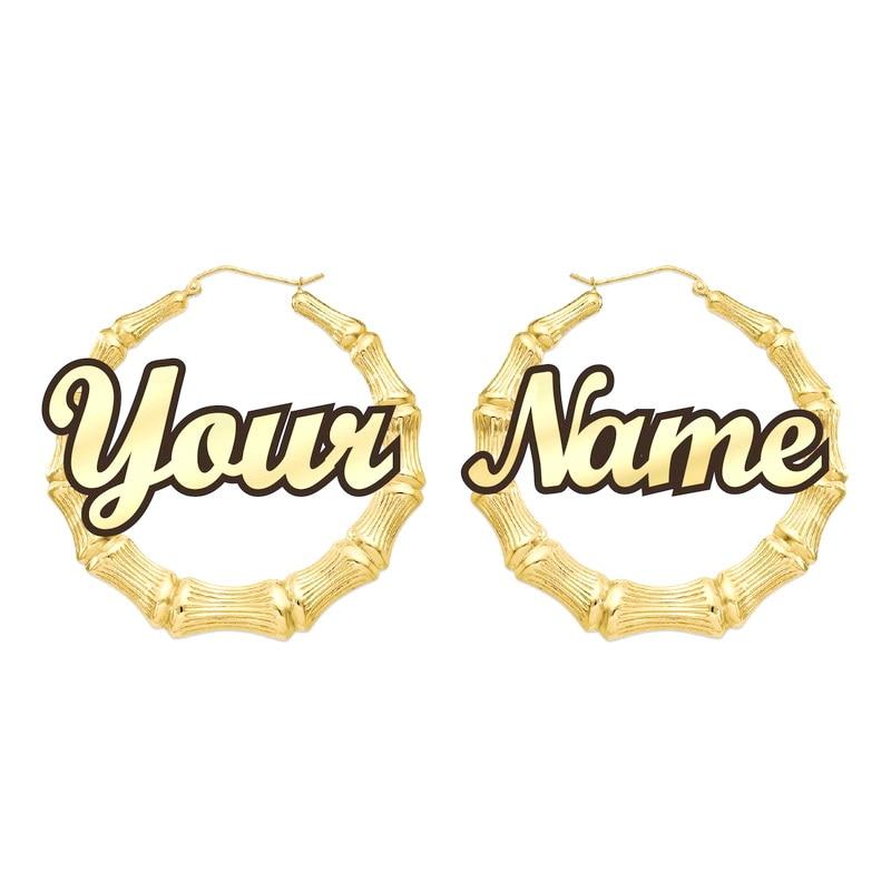 Personnalisable personnaliser nom boucles d'oreilles Style bambou personnalisé boucles d'oreilles avec des mots de déclaration