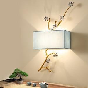 Image 3 - Applique murale moderne en tissu style chinois, éclairage mural pour la maison