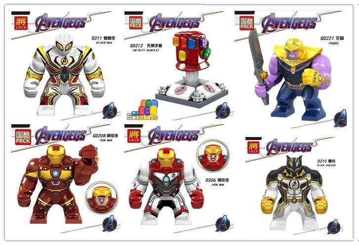 60pcs lot Super Heroes thanos spider man black panther Iron Man Robot MINI Figure Hulk Buster