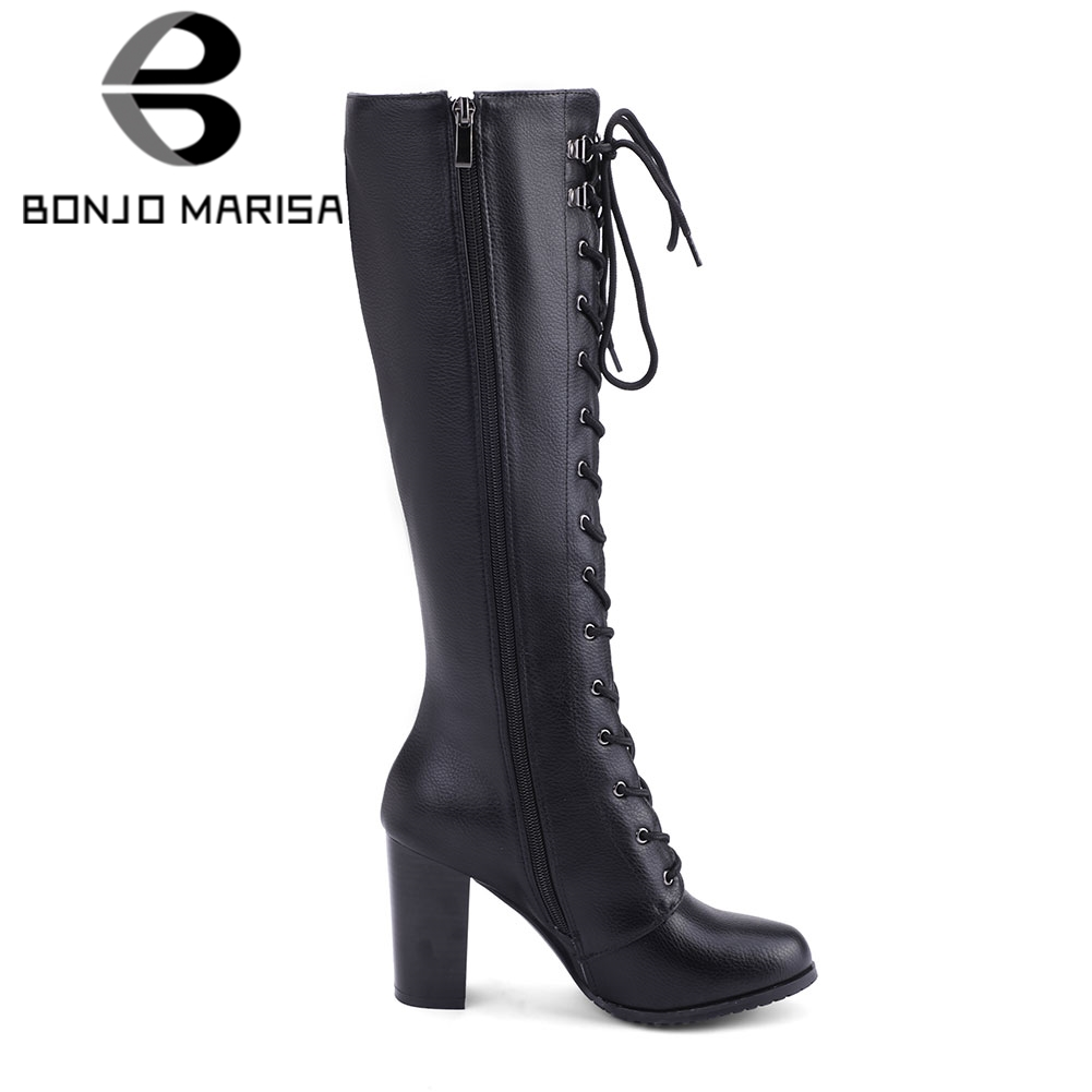 Image 2 - BONJOMARISA Big Size 34 43 Cool Knee High Boots Women High Heels Shoes Woman Party Footwear Ladies Lace Up Zipper Platform Boots-in Knee-High Boots from Shoes
