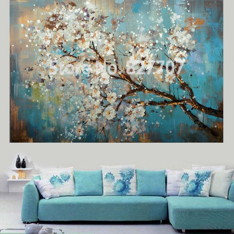 handpainted modern abstract flower canvas art decoration