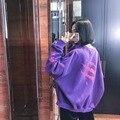 Calle HARAJUKU personalidad detrás de la letra de impresión de gran tamaño suéter de lana de manga larga sudadera bf