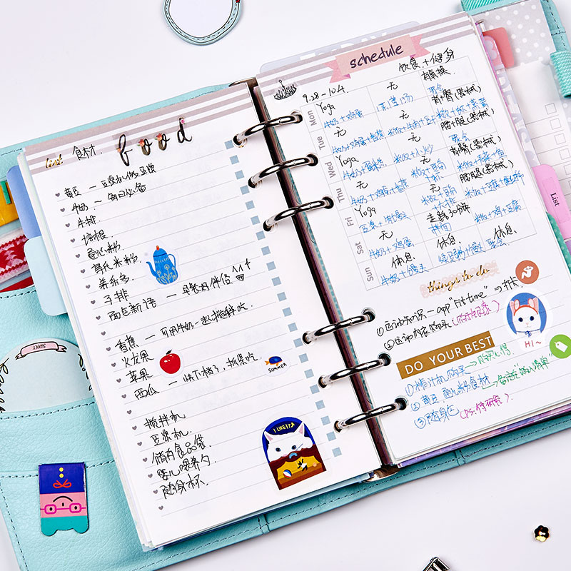 Creative cute flower pattern spiral notebooks inner paper core, candy 6 holes personal organizer planner refilling paper A5 A6 2018 new creative flowers series 6 holes spiral notebook paper cute inner paper core for notebooks adaptation filofax a5 a6 page 10 page 10