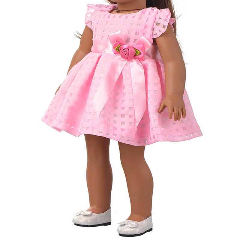 Ropa de muñeca de 43-45cm para muñeca recién nacida de juguete y muñeca americana de 18 pulgadas vestido rosa vestido de noche vestido de princesa