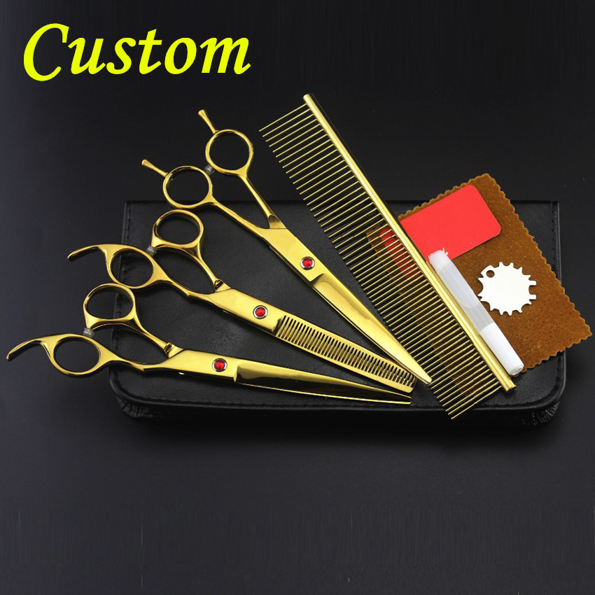 Custom Professional japan 4 kit gold pet 8 inch shears dog grooming hair scissors cutting thinning barber hairdressing scissors 4 kit professional 8 inch pink pet grooming shears cutting hair scissors case dog grooming thinning barber hairdressing scissors