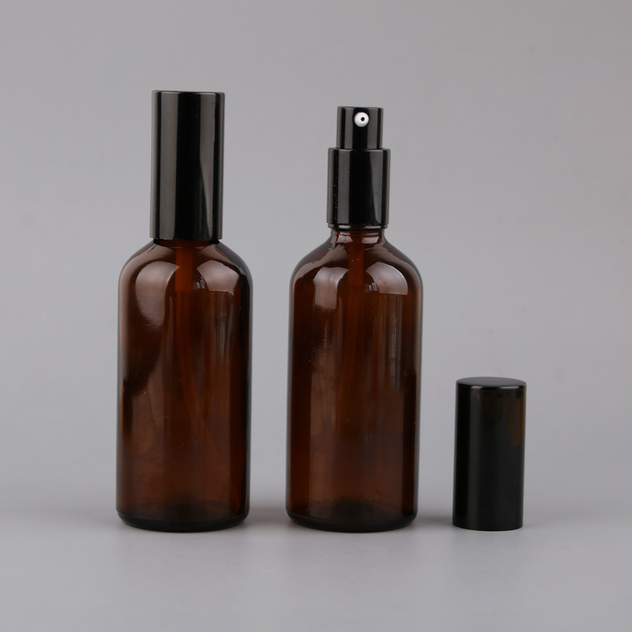 Merx Beauty wholesales 8PCS 100ml Glossy Brown Mist Sprayer Glass Amber Opaque Liquid Bottle Lotion Bottles