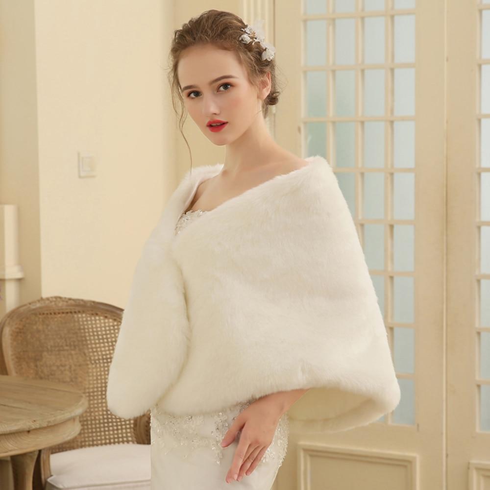 Wedding Dress Cover Up.Fashion Warm Shawl Wrap Faux Fur Cover Up Stole Bridal