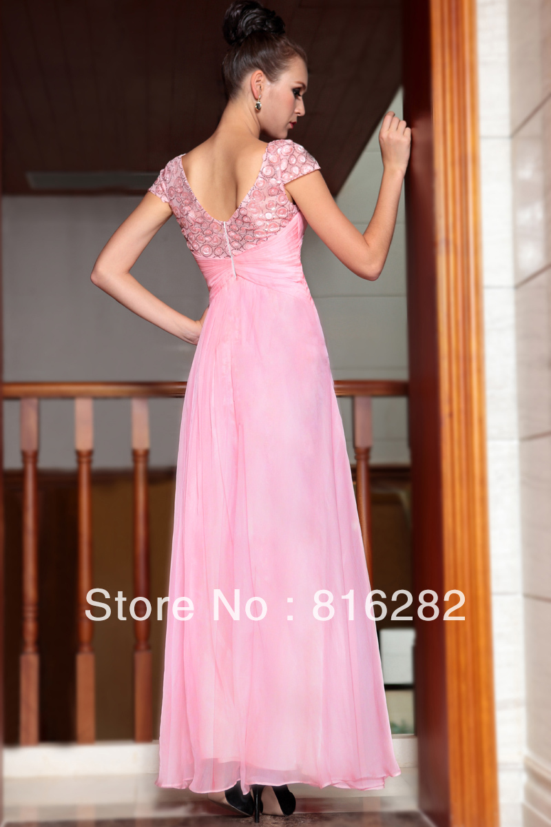 Modestos vestidos fiesta 2015 Bartow sedoso pink beads manga corta ...