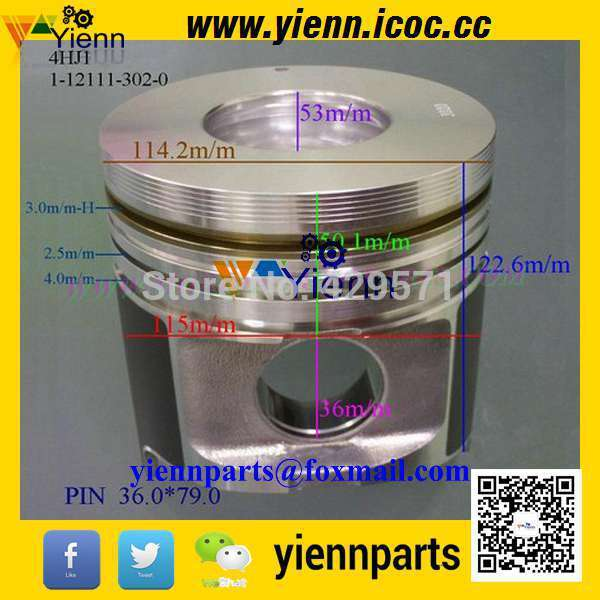 US $291 0  4HJ1 Piston kit 8 97221 454 0 1 12111 302 0 with pin and clips  For ELF LIGHT truck 4HJ1 diesel engine repair parts-in Pistons, Rings, Rods