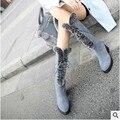 O mais recente inverno meados de bezerro botas de pele de coelho salto grosso mulheres botas de neve de couro zip e lace moda beleza sapatos