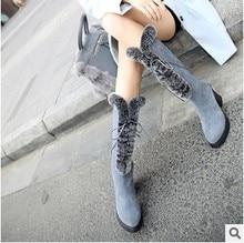 ใหม่ล่าสุดฤดูหนาวกลาง- น่องรองเท้าผู้หญิงหนังแท้กระต่ายขนหนาส้นรองเท้าหิมะหญิงซิปลูกไม้รองเท้าแฟชั่นและความงาม