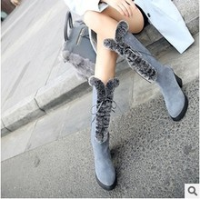 The latest winter mid-calf women boots genuine leather rabbit fur thick heel female snow boots zip and lace fashion beauty shoe